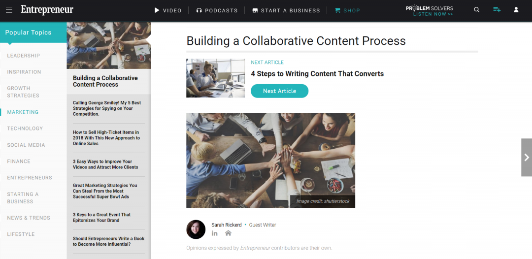 [Entrepreneur.com] Building a Collaborating Content Process