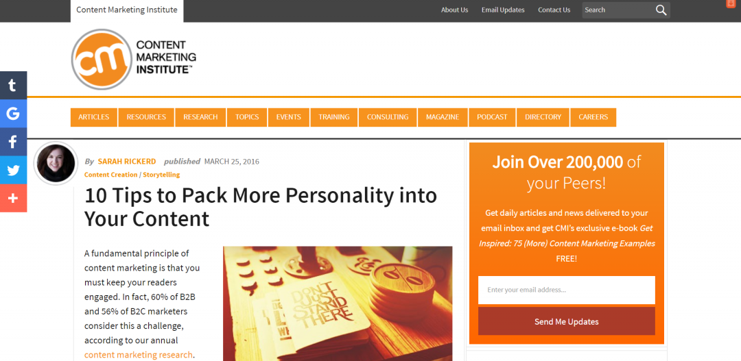 [Content Marketing Institute] 10 Tips to Pack More Personality into Your Content
